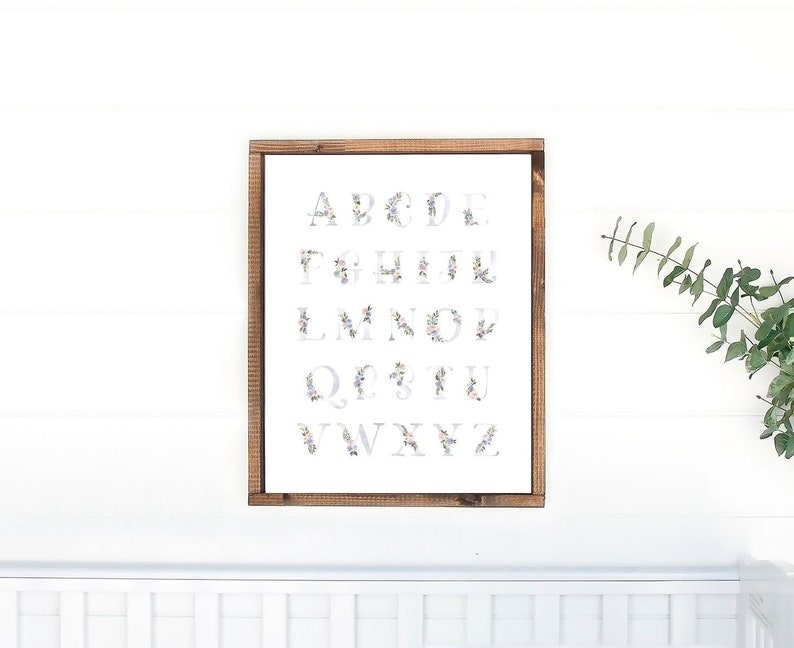 Alphabet Print Watercolor Floral Letters for Girl's Room image 0