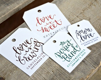 24 Pre Printed Favor Tags for Wedding Favors, Dinners, Showers, Parties, and many other Events Personalized with Names and Wedding Date