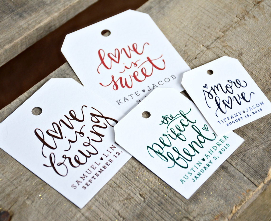 24 Pre Printed Favor Tags for Wedding Favors, Dinners, Showers ...