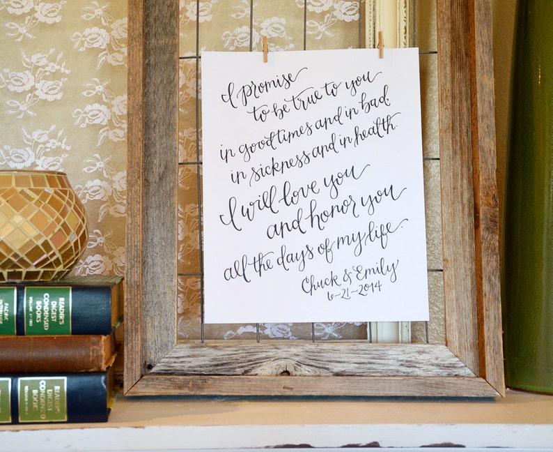 f4eb7131b1fe Handwritten Wedding Vows Art Print. Personalized Wedding Vow