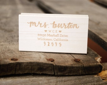 Personalized Address Rubber Stamp with Teacher's Name and School Initials, Great Teacher's Christmas Gift