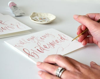 Handpainted Will You Be My Bridesmaid Cards. Watercolor Bridesmaid Proposal, Handwritten Bridal Party Cards - Bridesmaid Gift, Maid of Honor