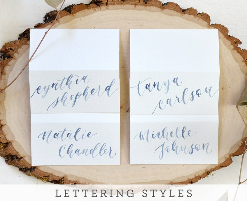 Watercolor Flat Cards Calligraphy Personalized Escort Cards Name Cards with Optional Meal Choice or Table Number Wedding Placecards