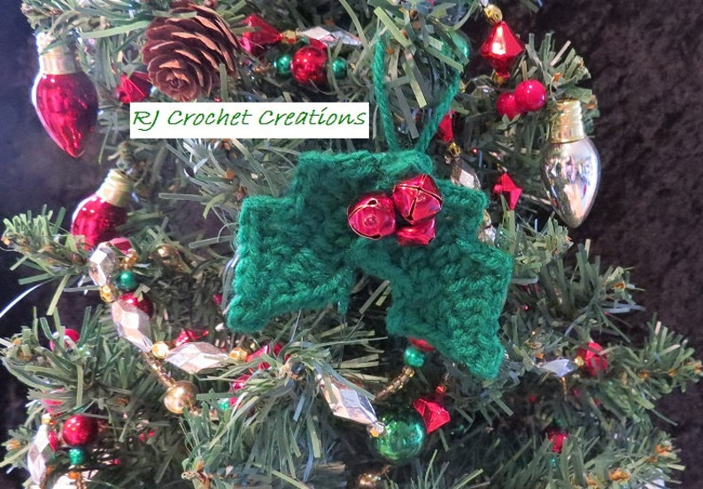Crocheted Holly Berry Leaves Christmas Ornament