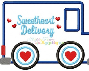 Valentine Mail Truck Machine Embroidery Design