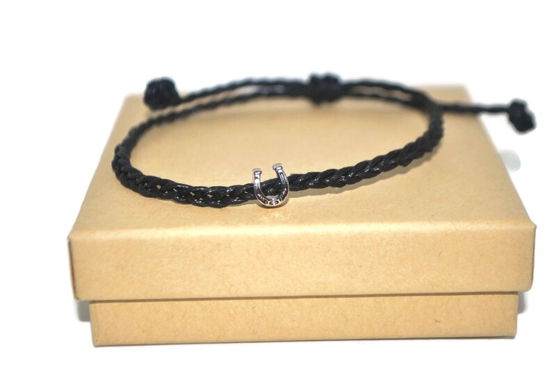 Horseshoe wish braided waxed cord adjustable bracelet and good luck protection note card