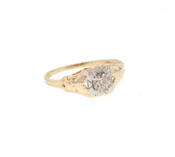 Mid Century Diamond Ring, Vintage Engagement Ring,