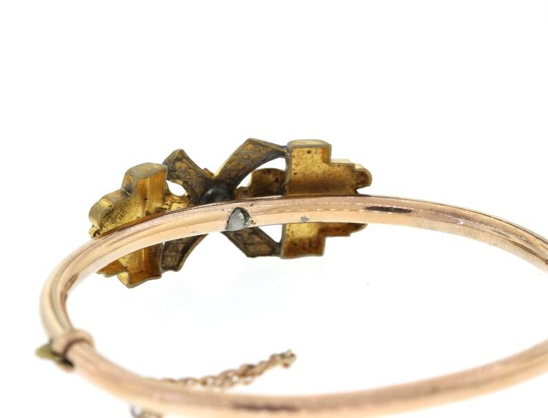 Vintage Diamond Bracelet Antique Hinged Gold Bangle Victorian Gold Filled Bracelet