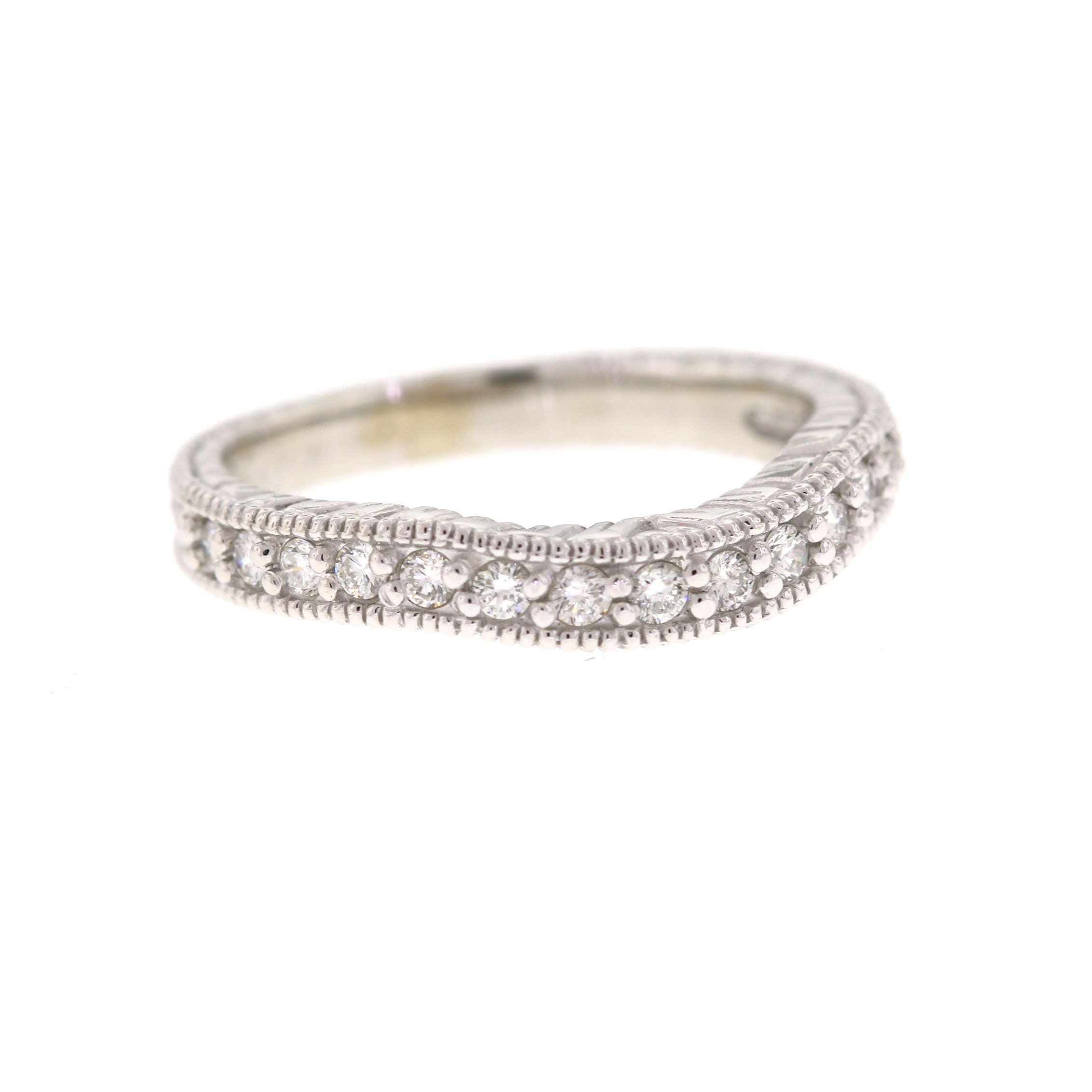 50: White Gold Diamond Curved Wedding Bands At Reisefeber.org