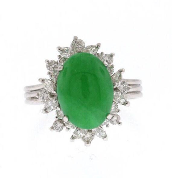 18k Ring White Engagement Goldamp; Statement Diamond Vintage Jade RingUntreated kPn0wO