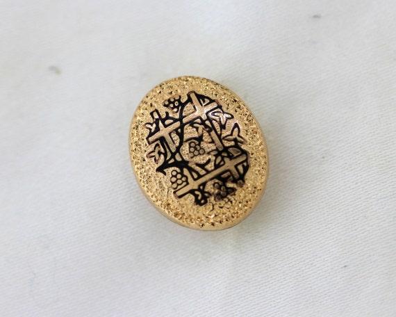 Vintage Enamel Pin, Antique Gold Filled Pin, Yello