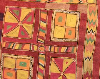 VINTAGE EMBROIDERED Folk Art Tapestry
