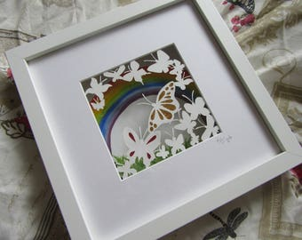 Butterfly Meadow. Original papercut art