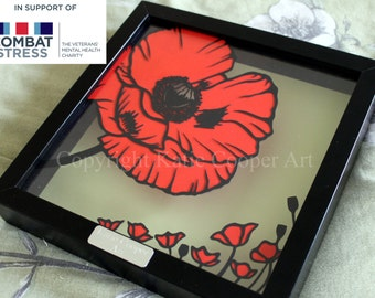 Poppies papercut TEMPLATE do it yourself