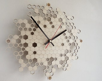 Honeycomb Engraved Wall Clock (medium)