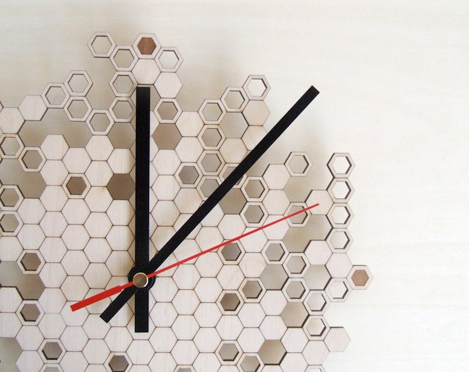 Honeycomb Engraved Wall Clock (small)