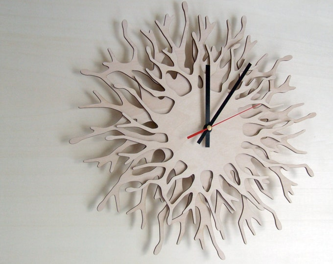 Large wall clock - Big Coral - wood