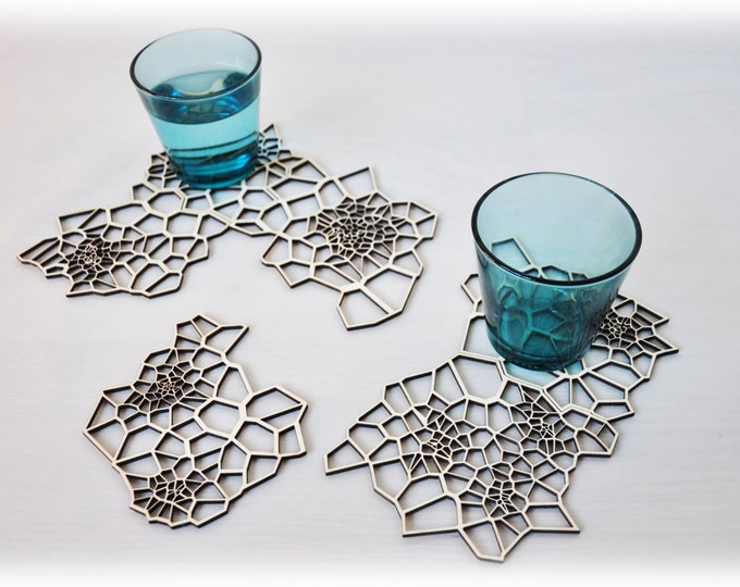 Lasercut drink coasters - Geometric Wood - set 6