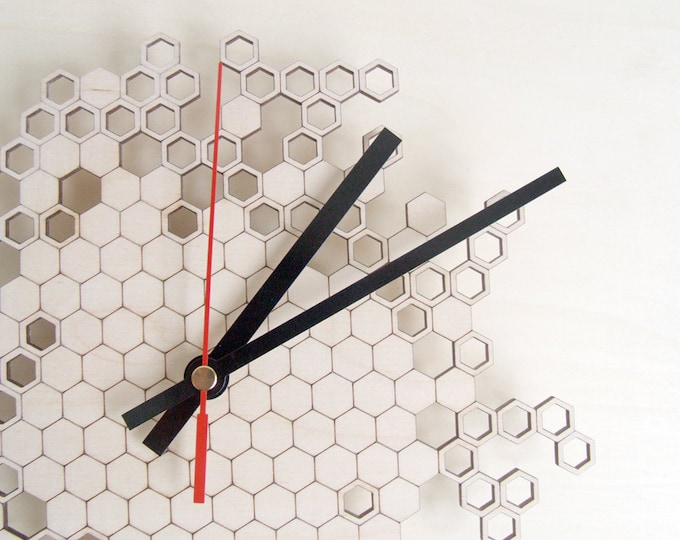 Honeycomb Original Wall Clock (small) - wooden wall clock