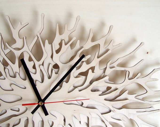 Coral Clock - large wall clock horizontal