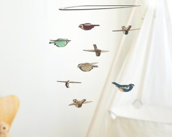 Flying High Bird mobile medium - wooden bird mobile