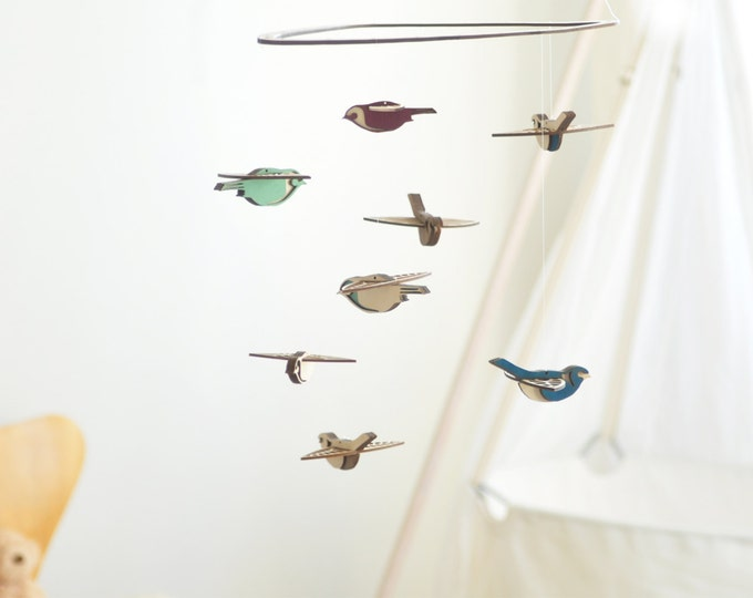 Flying High Bird mobile medium - wooden mobile - nursery mobile