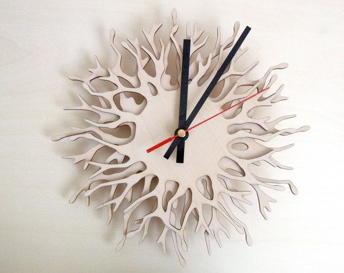 Large wall clock - Small Coral - wood