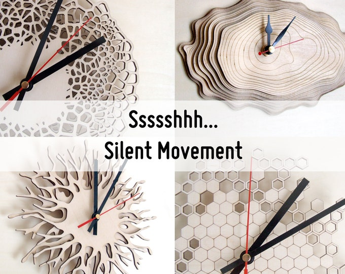 Silent movement - extra option for all Asymmetree Clocks - sweeping second hand