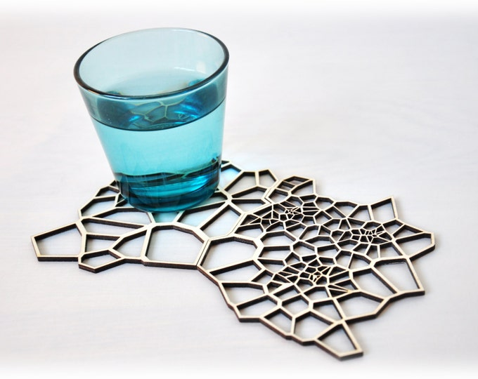 Geometric wooden drink coasters - set 2
