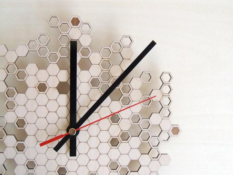 Large wall clock  Honeycomb Engraved  wood image 0