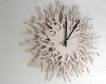 Large wall clock - Coral branch Clock