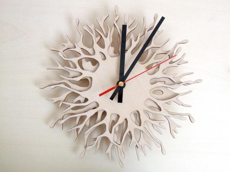 Large wall clock  Small Coral  wood image 0