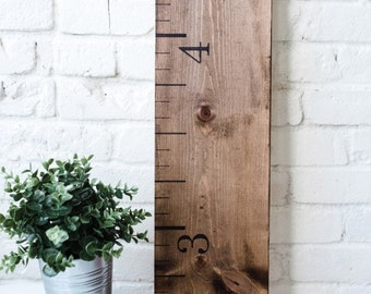 Wooden Growth Chart Ruler: Rustic Walnut | Growth Ruler | First Birthday | Measuring Stick | Oversized Ruler | Height Chart