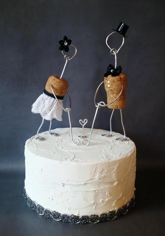 Cork Golf Wedding Cake Topper Wine Cork Golfer Bride