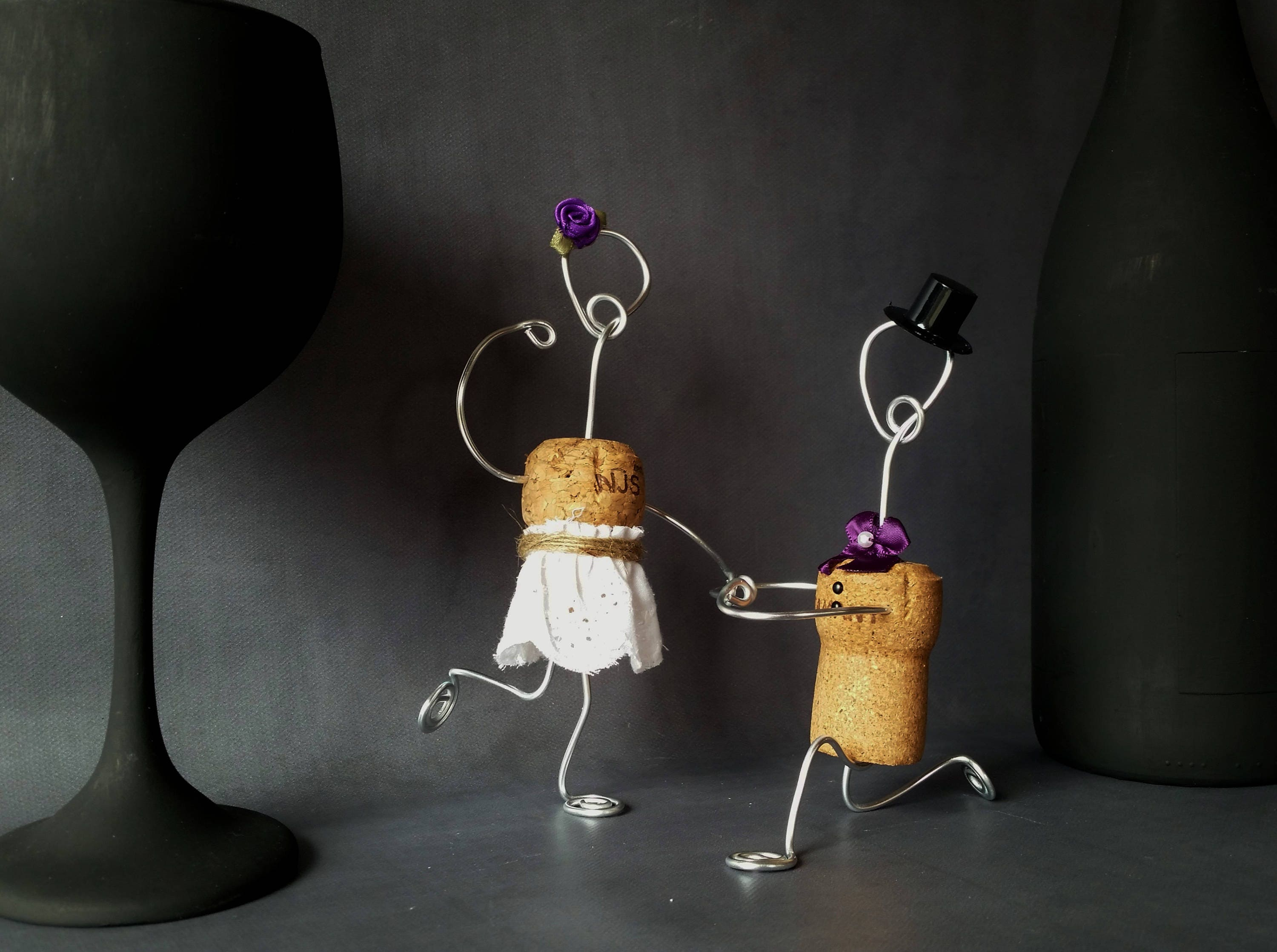 CHAMPAGNE Rustic CORK Wedding Cake Toppers Wine Inspired ...