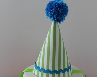 Green Blue Birthday Hat - Green and White Striped Blue Baby First Birthday Fabric Party Hat - First 1st Birthday Cake Smash Outfit