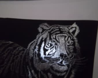 Unique scratch art tiger in black and silver