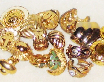 Temporary Earring Fix- Odd Lot - Costume Jewelry Earrings-Pierced and Clip on-Gold tone.