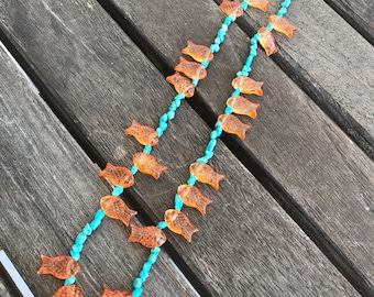 Handmade turquoise chips and glass goldfish necklace
