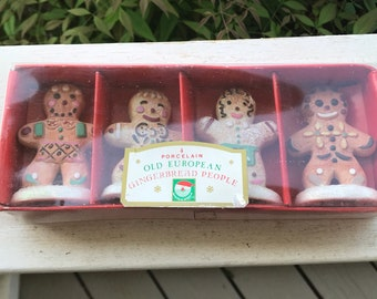 Set of 4 Kurt Adler porcelain gingerbread people in original box