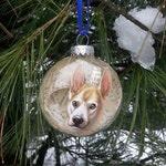 Custom Antique Paper and Glass Ornament Bulb! Pet portrait, Animals, Fantasy