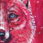 Blossom - 8x10, Fox, foxes, cherry, canvas, acrylic, pink, magenta, petals, flowers, flower