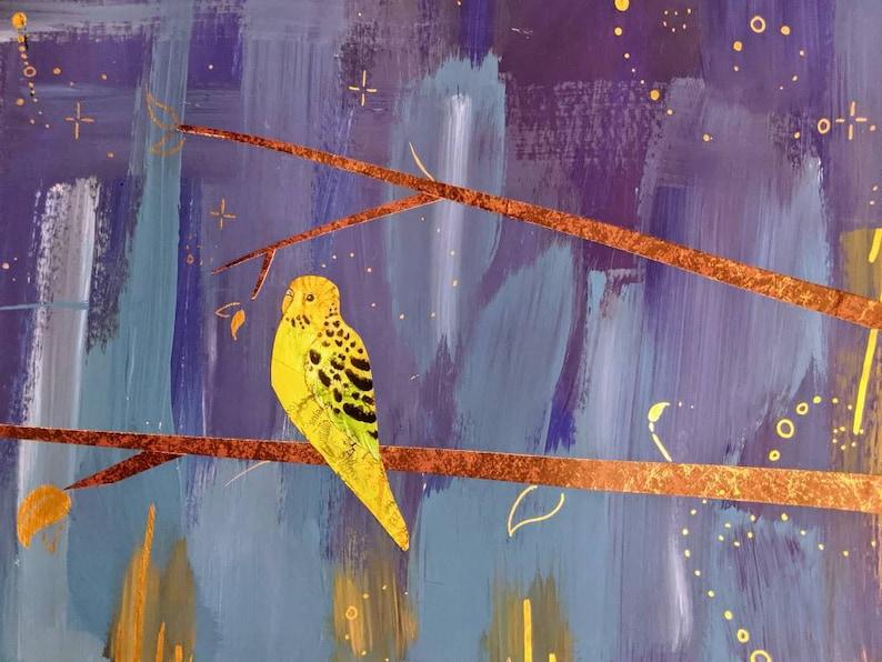 Little Joys  18x24 Parakeet stars Budgie bird collage image 1
