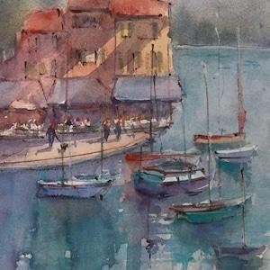French Cityscape, IV Watercolor of Les Deux Garcons Original Watercolor 6.75x10. Aix En Provence