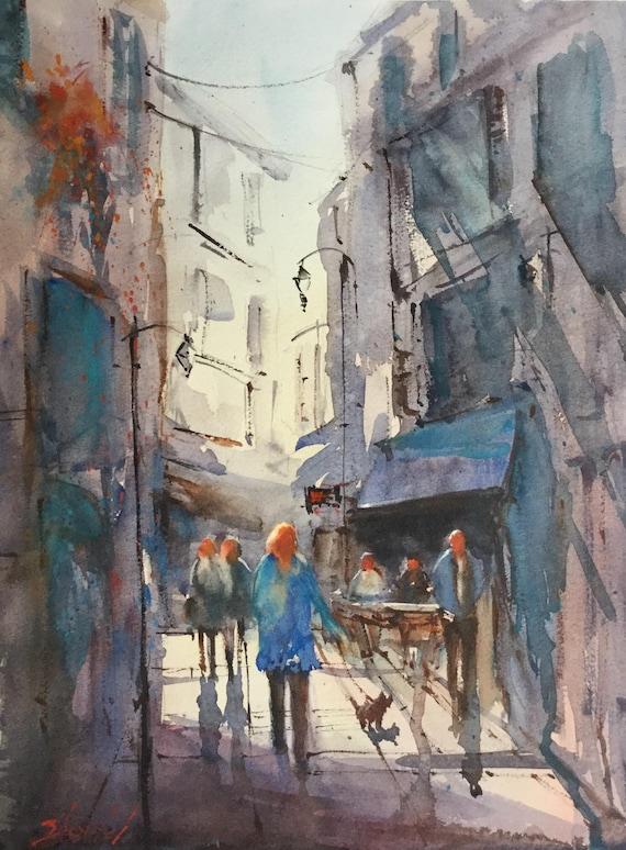 Peinture à Laquarelle De Paysage Urbain Aix En Provence En | Etsy