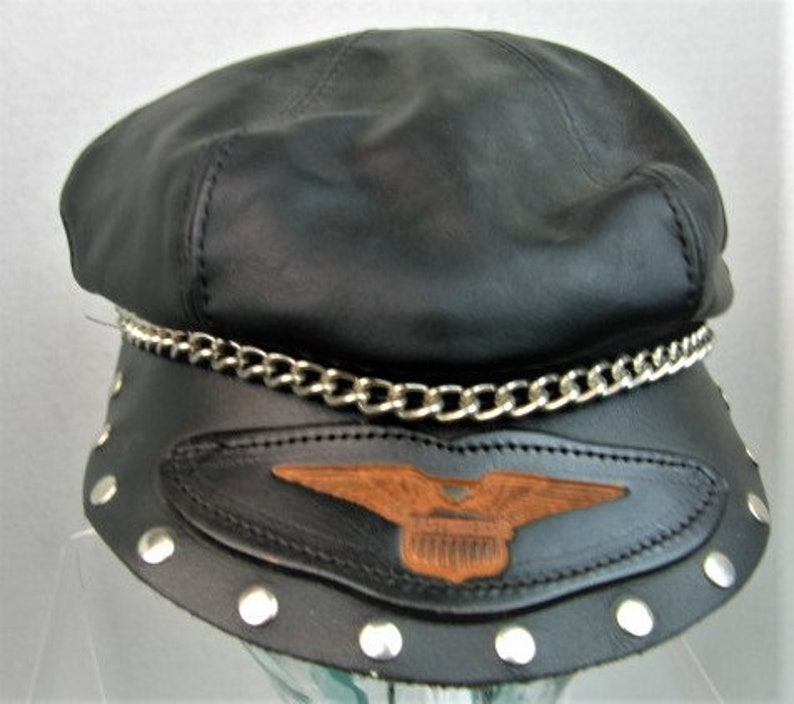 a8f1c84b1 RARE 70s Harley Davidson Leather Captain's Hat EASY RIDERS Limited Edition