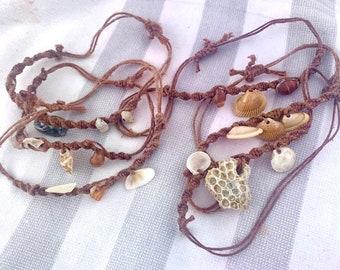 Macramé Adjustable Seashell Bracelets/Anklets