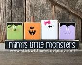 Mimi 39 s little monsters, halloween blocks, halloween decor, pumpkin blocks, happy halloween sign, wood halloween decoration, wood blocks