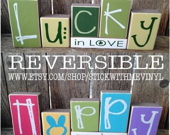 St patricks day, lucky, reversible blocks, spring decor, lucky in love, lucky decor, wood blocks, st patricks decor, home decor, shamrock