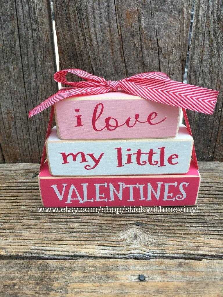 Valentines blocks I love my little Valentine decor   Etsy